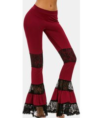 lace panel flare bottom pants