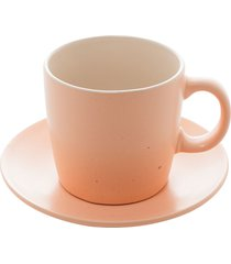 conjunto 4 xícaras chá cerâmica granilite salmon 200ml