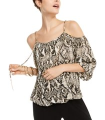 i.n.c. animal-print cold-shoulder top, created for macy's