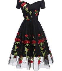 floral embroidered mesh off shoulder party dress
