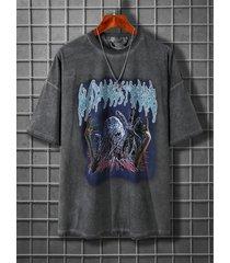camiseta con estampado exagerado lavado para hombre
