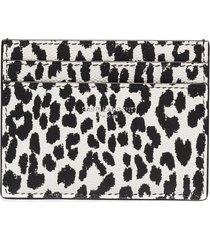 saint laurent leopard-print cardholder - black