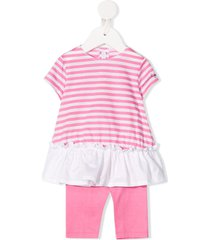 il gufo striped short sleeve tracksuit set - pink