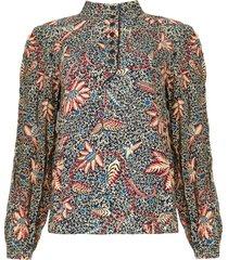 blouse met bloemenprint jet  blauw