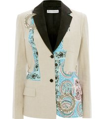 jw anderson mystic paisley patchwork tailored blazer with crystal