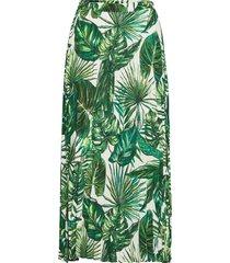 onlalma life poly plisse skirt aop wvn 9 lång kjol grön only