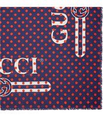gucci vintage logo polka dot shawl - blue