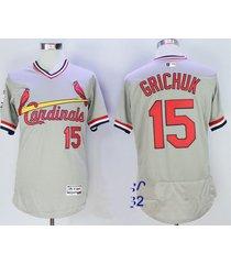 st. louis cardinals 15 randal grichuk gray pullover flexbase baseball jersey