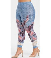 plus size paisley print lace panel skinny capri leggings