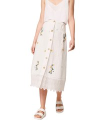 women's french connection embroidered eyelet midi skirt, size 10 - white