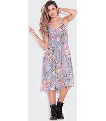 vestido wados midi estampado floral gris - calce regular