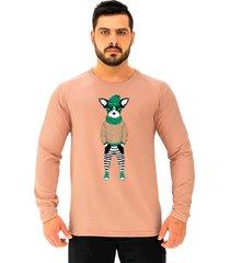 camiseta manga longa moletinho alto conceito buldogue francãªs estiloso rosa  - rosa - masculino - algodã£o - dafiti