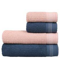 jogo de toalhas zeus no filme banho e rosto 4 peças trevalla azul/veludo rosa