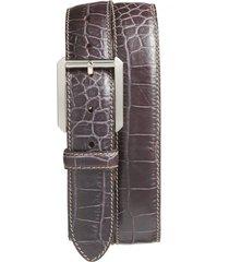 men's bosca embossed leather belt, size 44 - dark brown