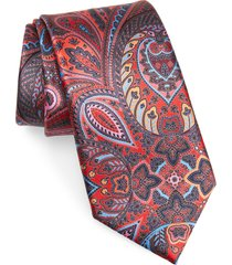 men's ermenegildo zegna paisley silk tie, size one size - red