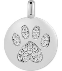 """charmbar swarovski zirconia pawprint """"puppy love"""" reversible charm pendant in 14k gold-plated sterling silver"""