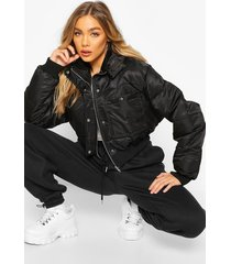 cropped double pocket puffer jacket, black