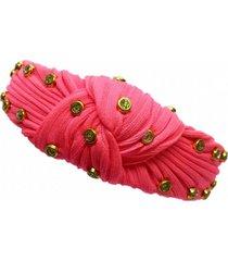 tiara narcizza turbante tecido neon rosa com ponto de luz