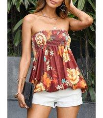 camiseta sin tirantes con estampado floral aleatorio burdeos diseño