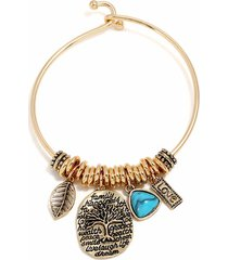braccialetti di fascino d'annata del braccialetto della foglia dell'albero ovale dei braccialetti di fascino della pianta dell'albero d'argento per le donne