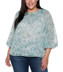 belldini black label plus size floral printed tie neck top with blouson sleeves