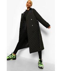 lange gewatteerde jas met stiksels en ceintuur, zwart