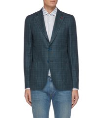 'cortina' notch lapel single-breast check wool silk linen blazer