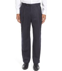 men's berle lightweight flannel pleated classic fit dress trousers, size 31 x unhemmed - blue