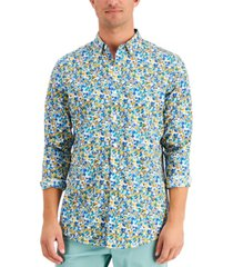 club room men's regular-fit stretch ditsy floral-print poplin shirt, created for macy's