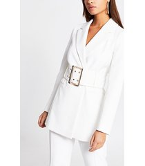 river island womens white large belted longline blazer