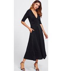 elegant plunging v-neck zip back a line maxi dress fit and flare black sz s-3xl