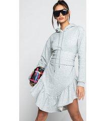 akira in the details ruffled hoodie dress