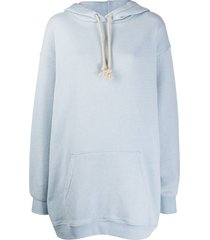 acne studios logo patch oversized hoodie - blue