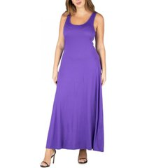 24seven comfort apparel women's plus size simple a line tank maxi dress