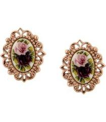 2028 rose gold tone purple flower oval button earrings