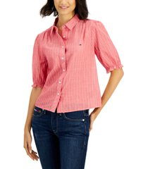 tommy jeans striped puff-sleeve blouse