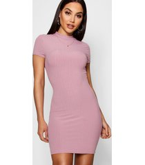 high neck cap sleeve rib bodycon dress, mauve