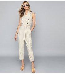 reiss lauren - wool linen blend jumpsuit in oatmeal, womens, size 12