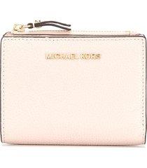 michael michael kors jet set pebbled-effect wallet - pink