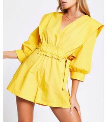 river island womens yellow ruched tie waist wrap playsuit