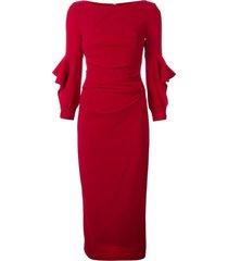 talbot runhof boat neck midi dress - red