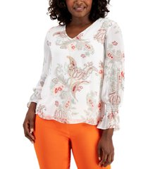 jm collection printed necklace top, created for macy's