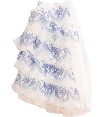 asymmetric side frill full skirt in blue/ivory