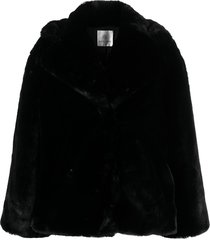 anine bing calvin faux fur coat - black