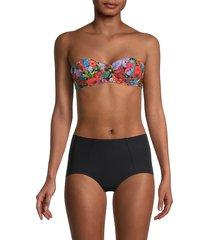 dolce & gabbana women's floral underwire bikini top - blue pink multicolor - size 4 (l)