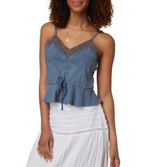 women's o'neill forest tie waist knit tank, size x-small - blue