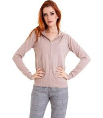 cardigan tricot kinara ziper capuz feminino