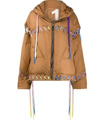 khrisjoy oversized lace-up puffer jacket - brown