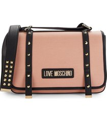 love moschino women's studded two-tone crossbody bag - red
