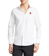 collection modern fit woven cotton embroidered shirt